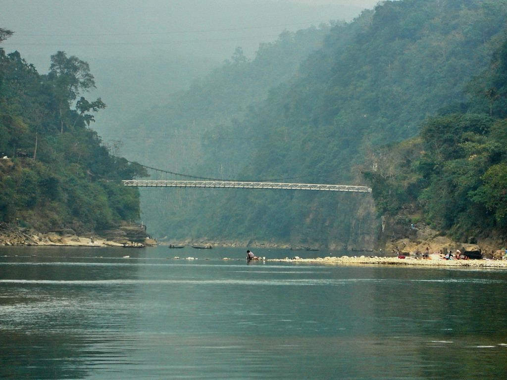 Bridge at jaflong with indian border in the background